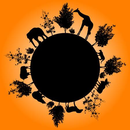 Silhouette of trees and wild animals walking around the world Vektoros illusztráció