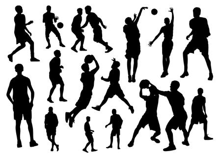 exercise silhouette: Basketball silhouette set