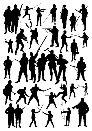 sword silhouette: Silhouettes of People Fighting Illustration