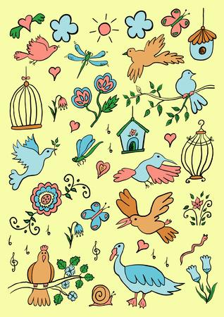 Hand Drawn Color Cartoon Birds Set Vector