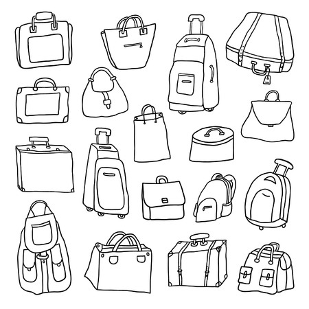 trolley case: Set of hand drawn bags and suitcases