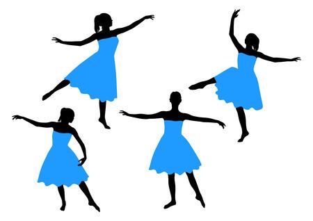 バレエを踊る少女のシルエット