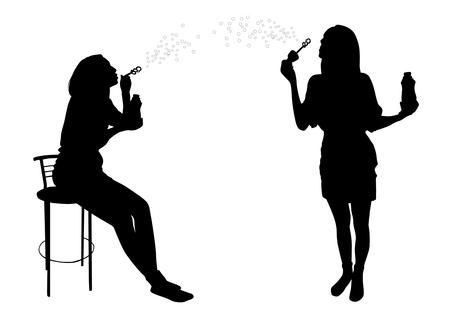 girls having fun: Girl blow bubbles silhouette