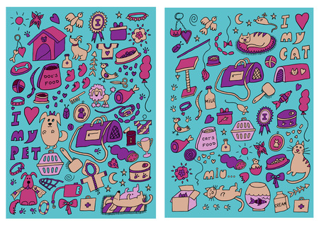Cats and Dogs Hand Drawn Color Set Vector