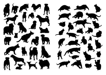 silueta gato: Gatos y perros Siluetas Set Vectores