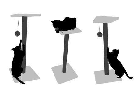 and scratching: silhouettes of a cat on the scratching post Illustration