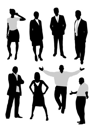 Business people silhouettes Vettoriali