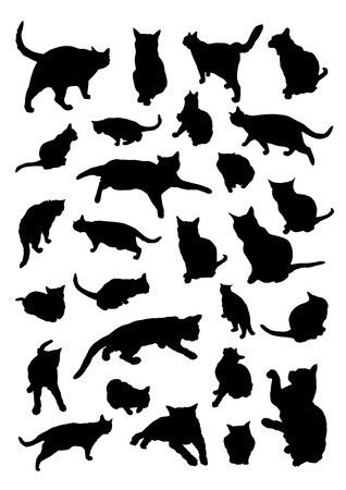 good and bad: Silhouettes of Cats Illustration