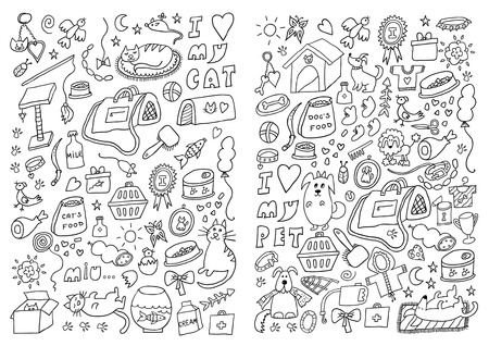 Cats and Dogs Hand Drawn Set Vector