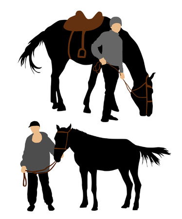 Colorful set of horse and man silhouette Illustration