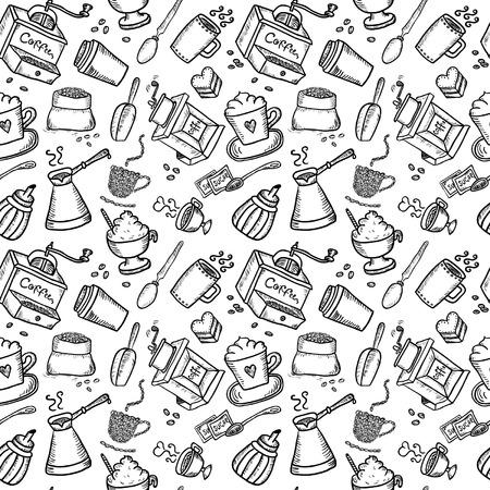 Hand Drawn Coffee Seamless Vector
