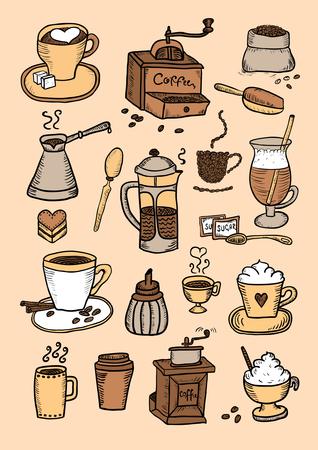 Hand Drawn Color Coffee Set Vector