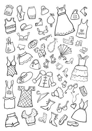 cartoon clothes: Hand Drawn Cartoon Clothes Illustration