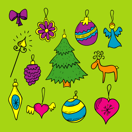 Christmas decorations hand drawn color set Vector