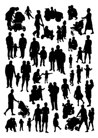 People and Children Silhouettes Set Vectores