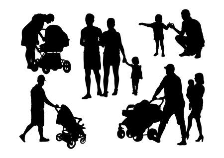 Mensen en kinderen silhouetten Set