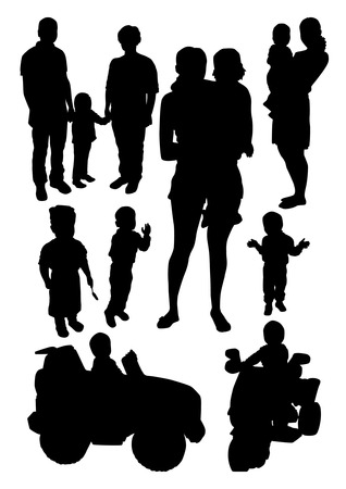 People and Children Silhouettes Set Vettoriali