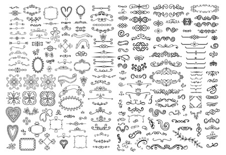Sierlijke frames en bloemen elementen Stock Illustratie