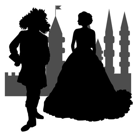 middle age woman: Couple-in-the-Castle Illustration
