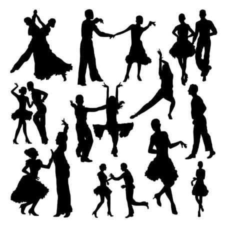 nice guy: Dancing people silhouettes set