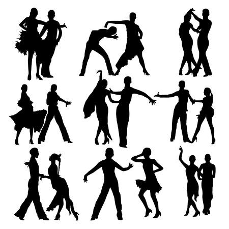 latin dancing: Dancing people silhouettes set