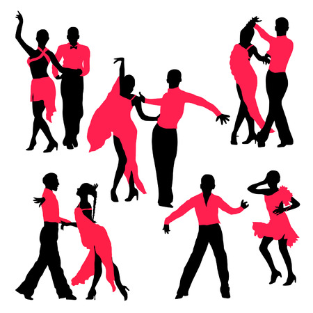Dancing people silhouettes set