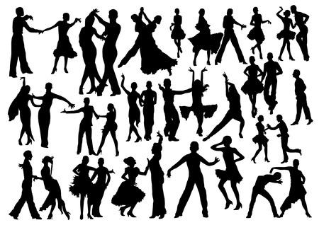 bailes latinos: Bailando siluetas Conjunto de personas Vectores
