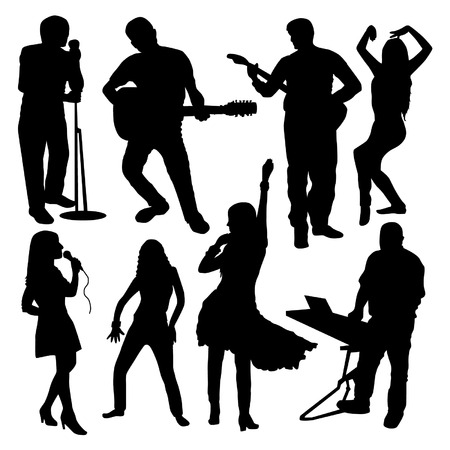 tenor: Disco People Silhouettes Set Illustration