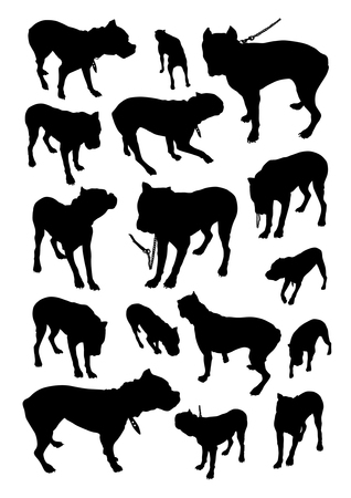 Set of silhouettes of dog breed boxer Vector
