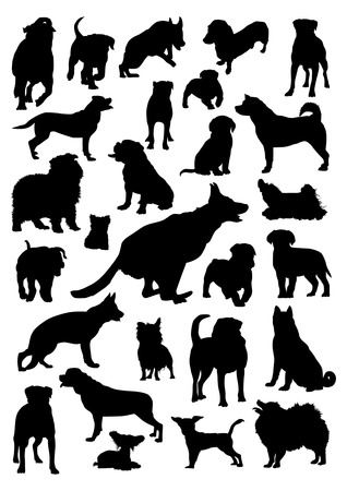 Dogs Silhouettes Set Vector