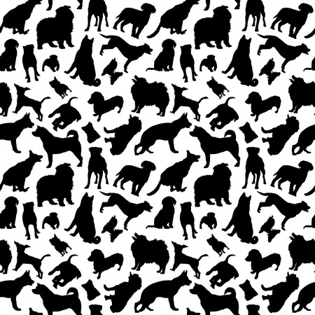bull dog: Dogs Silhouettes Seamless