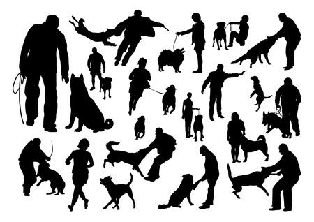 Adiestramiento de perros Siluetas Set Foto de archivo - 38609365