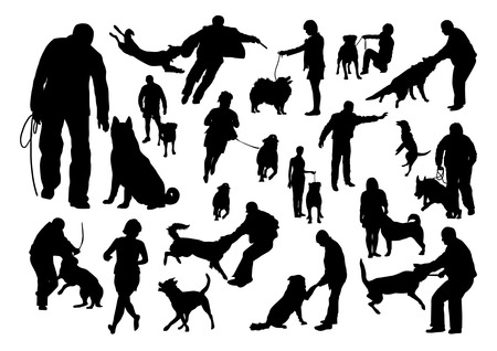 dog walking: Dog Training Silhouettes Set