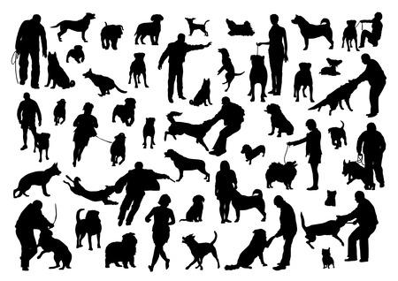 人と犬のシルエット セット