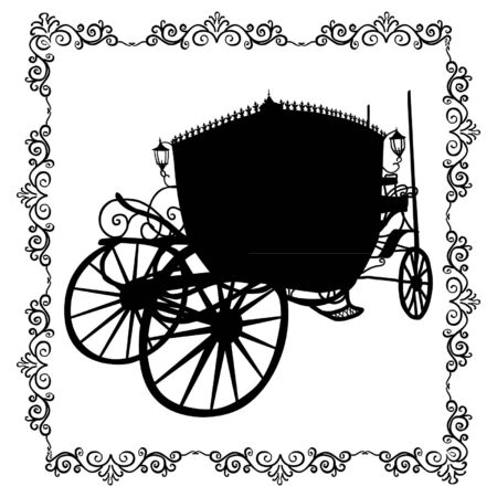 brougham: silhouette of the in the patterned frame