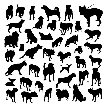 bull dog: Dogs Silhouettes Set