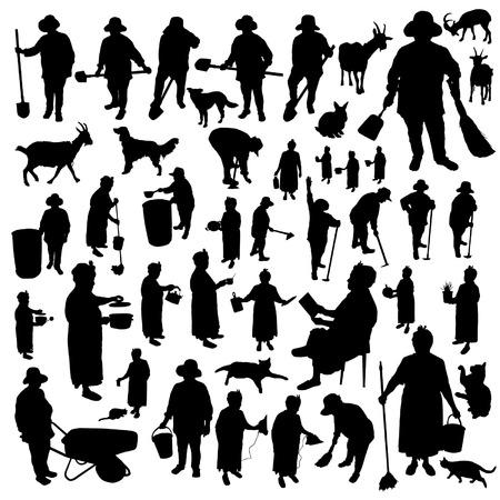 Farmer-women silhouettes set  イラスト・ベクター素材
