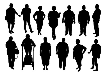 overweight: illustration of silhouette fat people