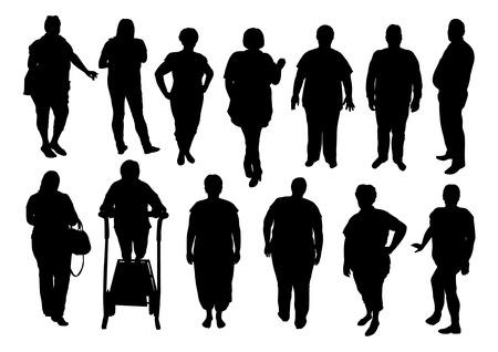 hombre flaco: ilustraci�n de la gente gorda silueta