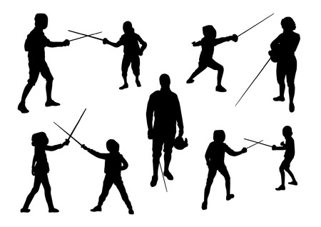 Fencing Sport Silhouettes Vettoriali