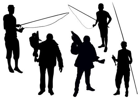 fishing silhouette: Fishing set