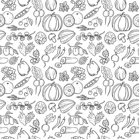 Fruit and Vegetables Hand Drawn Seamless Çizim