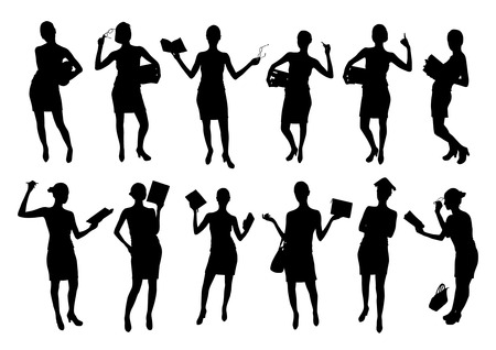librarian: Business woman silhouettes vector