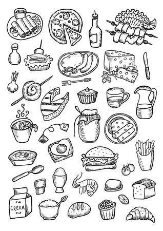 brochetas de frutas: Dibujado a mano conjunto de Alimentos