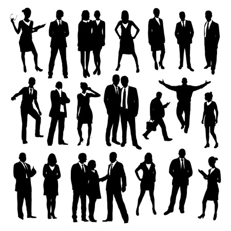negotiation business: Business people silhouettes set