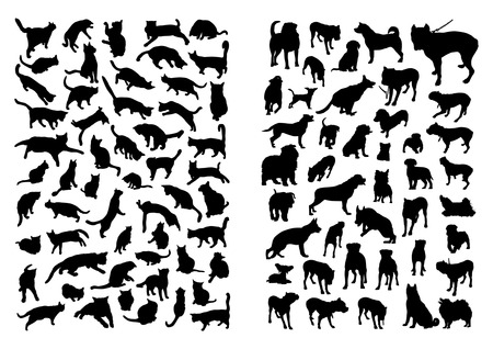 dog and cat: Cats and Dogs Silhouettes Set Illustration