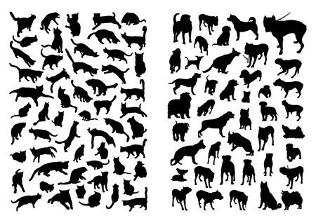 silueta de gato: Gatos y perros Siluetas Set Vectores