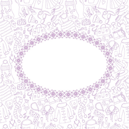 The Floral Frame on Fashion hand drawn seamless Vector