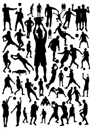 Football and Basketball Silhouettes Set