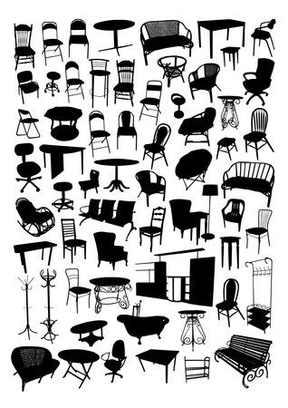 muebles antiguos: Muebles Siluetas Set Vectores